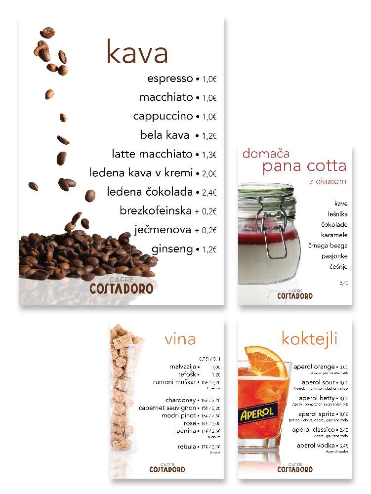 menus Caffe Costadoro
